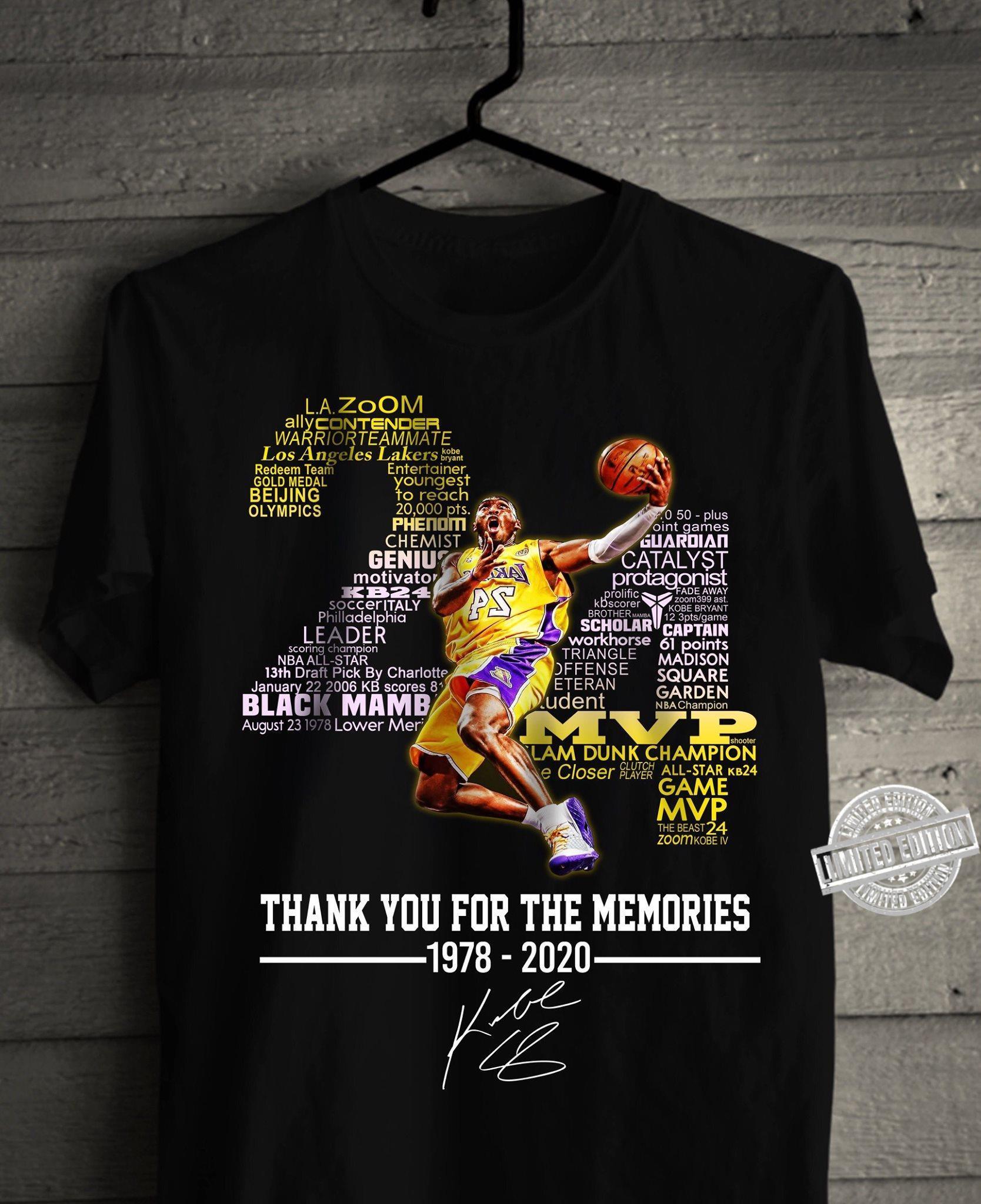 Kobe Bryant 24 Thank You For The Memories 1978-2020 Shirt
