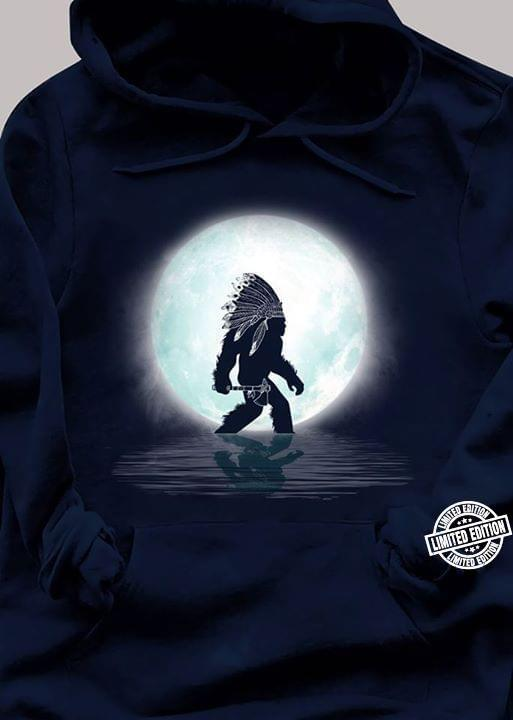 Mystery Red Indian Bigfoot Walking On River Under Moonlight Shirt
