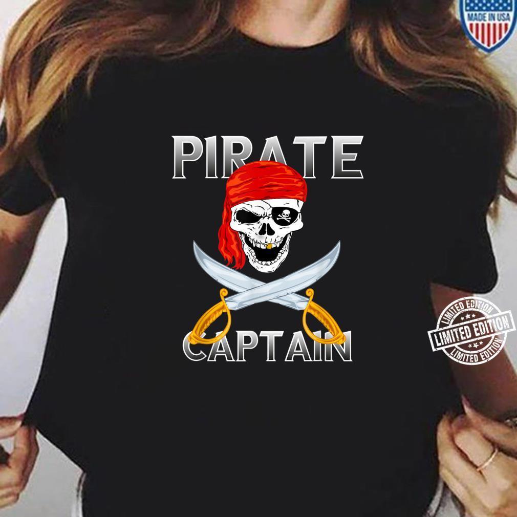 Piraten Kapitän Vintage Totenkopf Pirat Kostüm Halloween Shirt ladies tee